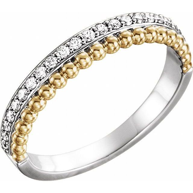 14K White/Yellow 1/5 CTW Diamond Beaded Ring