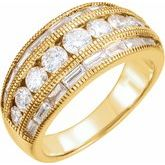 Baguette Accented Anniversary Band