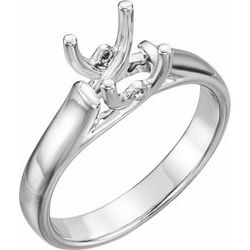 Square/Princess Woven Solitaire Engagement Ring Mounting with Accent