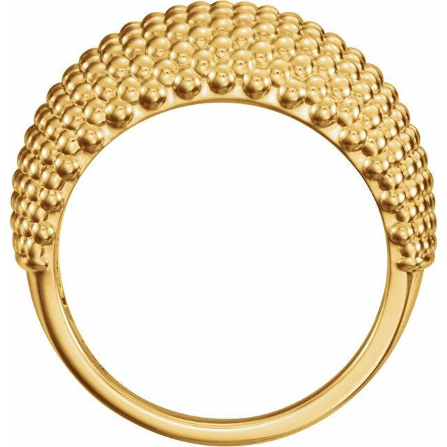 14K Yellow Beaded Dome Ring