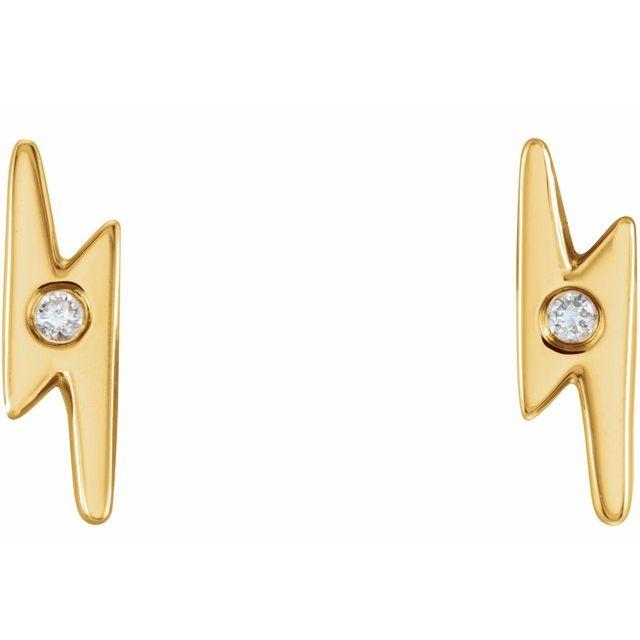 14K Yellow .03 CTW Diamond Lighting Bolt Earrings