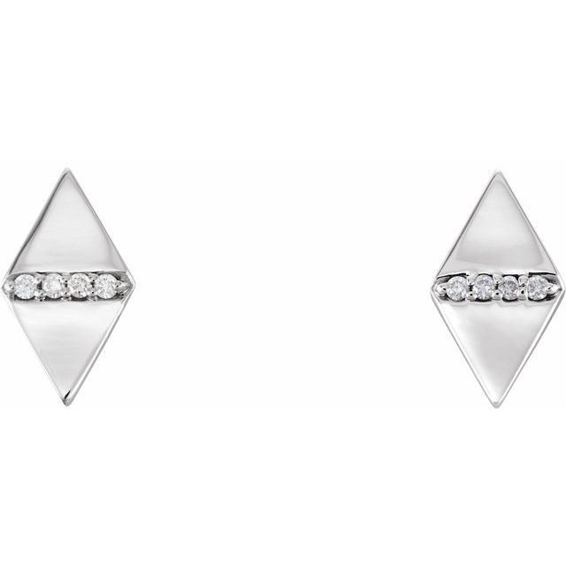 14K White .025 CTW Diamond Geometric Earrings