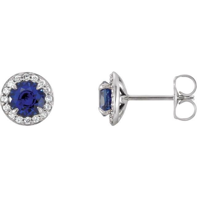 14K White 4 mm Round Blue Sapphire & 1/10 CTW Diamond Earrings