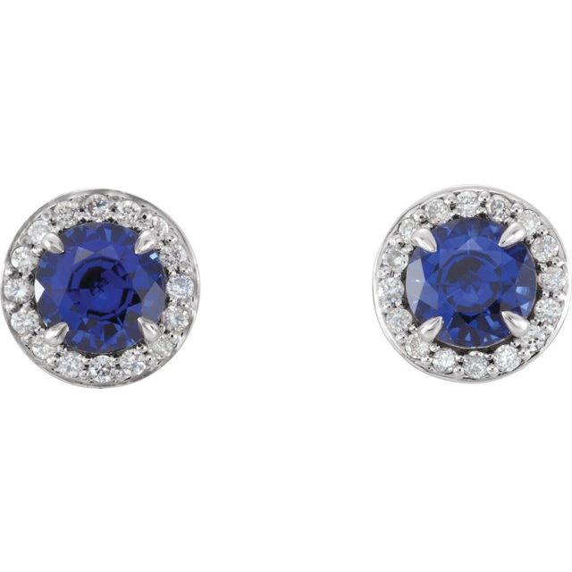 14K White 4.5 mm Lab-Grown Blue Sapphire & 1/6 CTW Natural Diamond Earrings