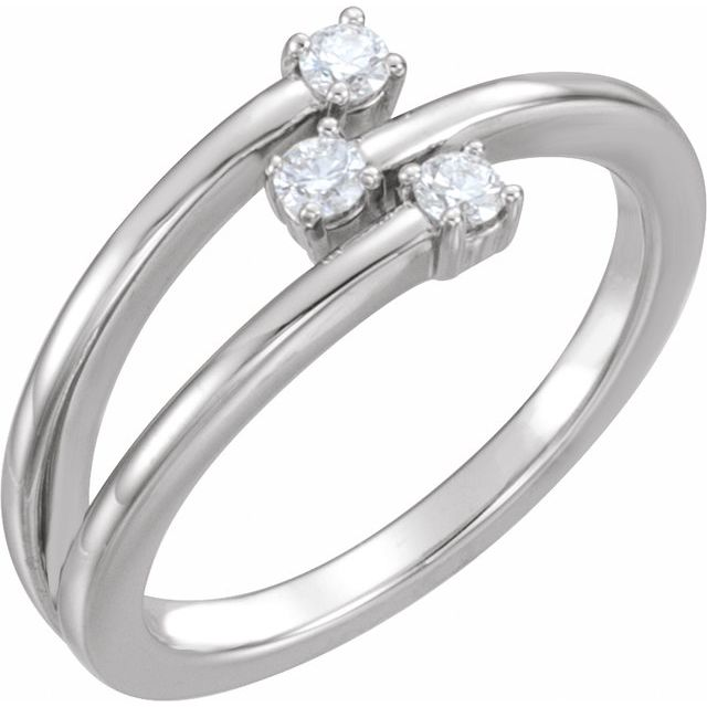 14K White 1/5 CTW Diamond Freeform Ring
