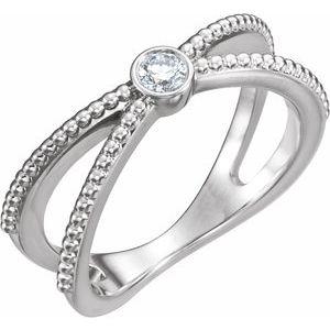 14K White 1/8 CTW Diamond Bezel-Set Beaded Ring