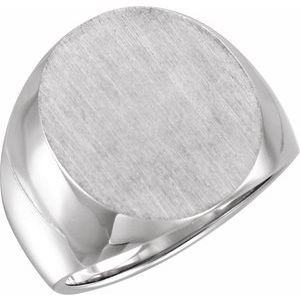 Sterling Silver 20x17 mm Oval Signet Ring