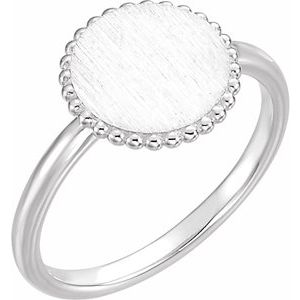 14K White Engravable Beaded Ring