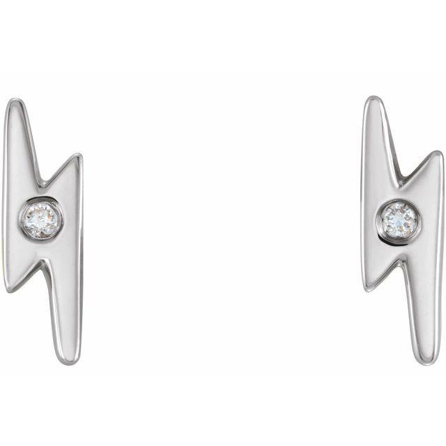 14K White .03 CTW Diamond Lighting Bolt Earrings