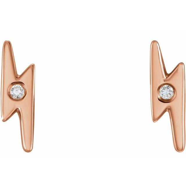 14K Rose .03 CTW Diamond Lighting Bolt Earrings