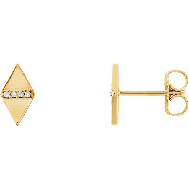 14K Yellow .025 CTW Diamond Geometric Earrings