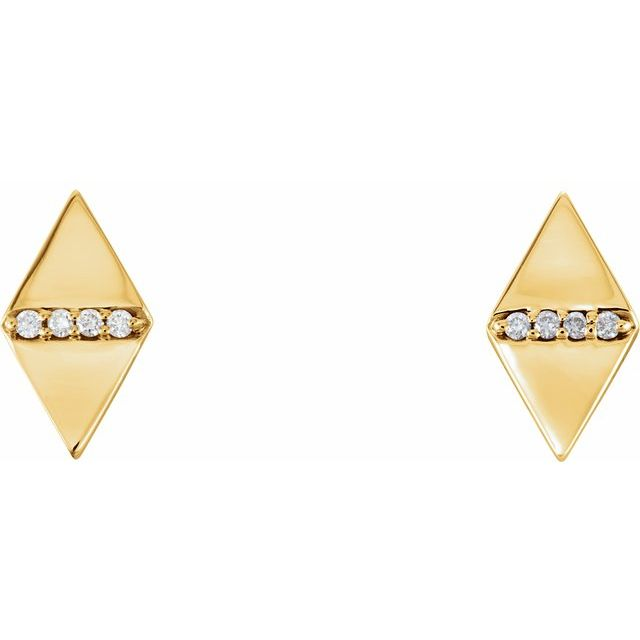 14K Yellow .025 CTW Diamond Geometric Earrings