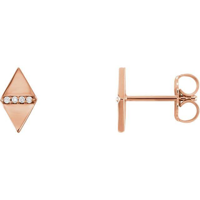 14K Rose .025 CTW Diamond Geometric Earrings