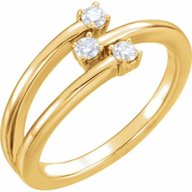 14K Yellow 1/5 CTW Diamond Freeform Ring