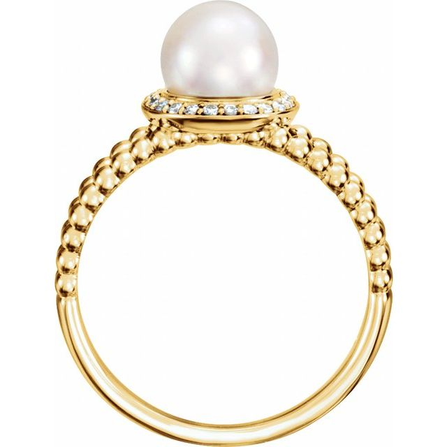 14K Yellow Freshwater Cultured Pearl & .08 CTW Diamond Halo-Style Beaded Ring