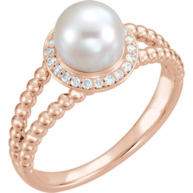 14K Rose Cultured White Freshwater Pearl & .08 CTW Natural Diamond Halo-Style Beaded Ring