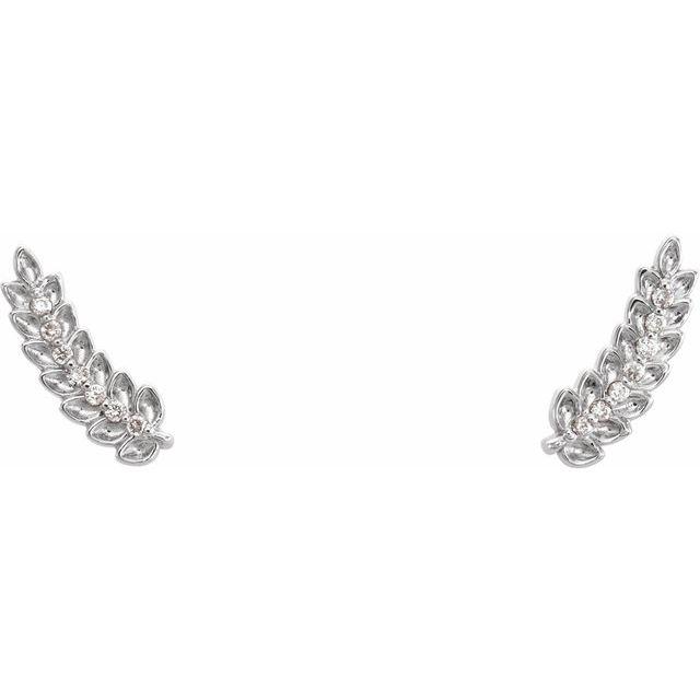 14K White .03 CTW Diamond Leaf Ear Climbers