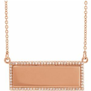 "14K Rose 1/6 CTW Diamond Bar 18"" Necklace"