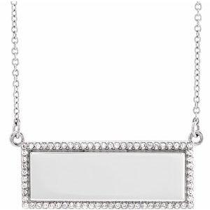 "14K White 1/6 CTW Diamond Bar 18"" Necklace"