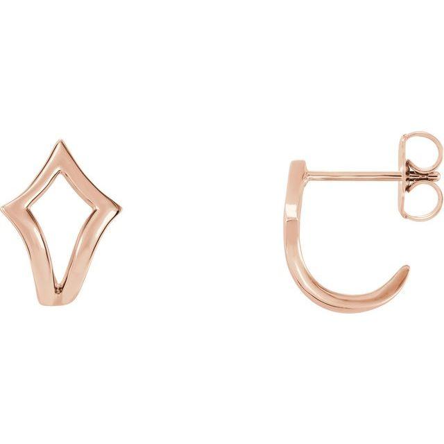 14K Rose Geometric J-Hoop Earrings