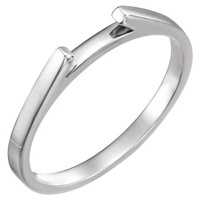 14K White Matching Band for 4 mm Round Engagement Ring