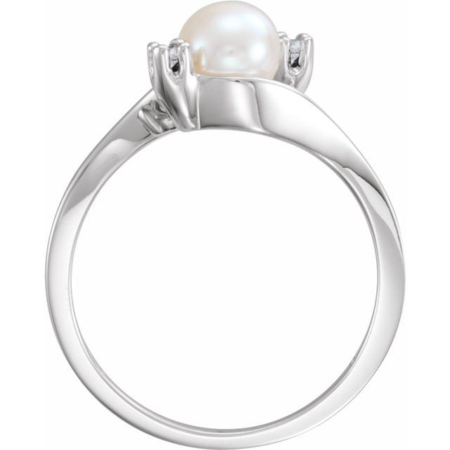14K White Akoya Cultured Pearl & .04 CTW Diamond Bypass Ring