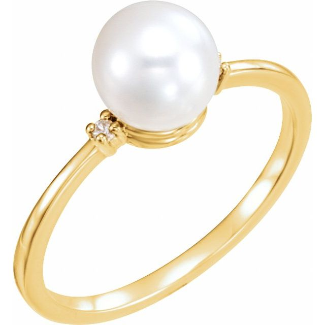 14K Yellow Freshwater Cultured Pearl & .025 CTW Diamond Ring