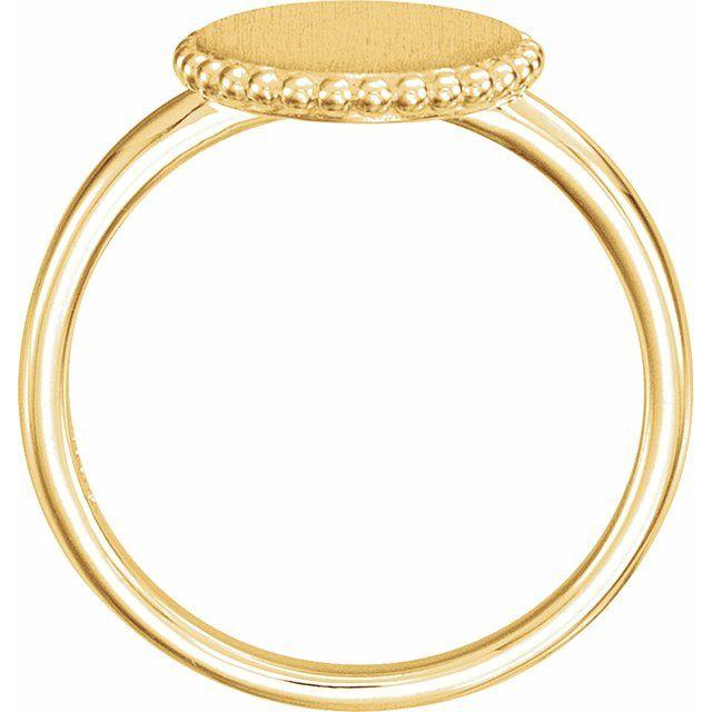 14K Yellow Engravable Beaded Ring