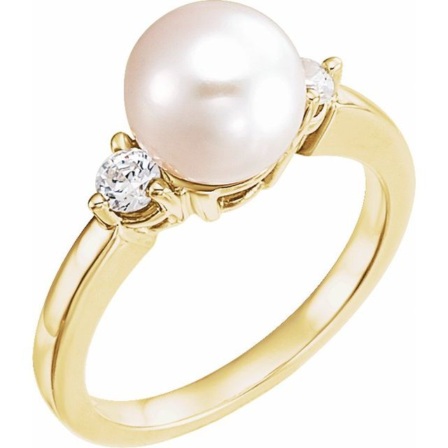 14K Yellow Akoya Cultured Pearl & 1/4 CTW Diamond Ring