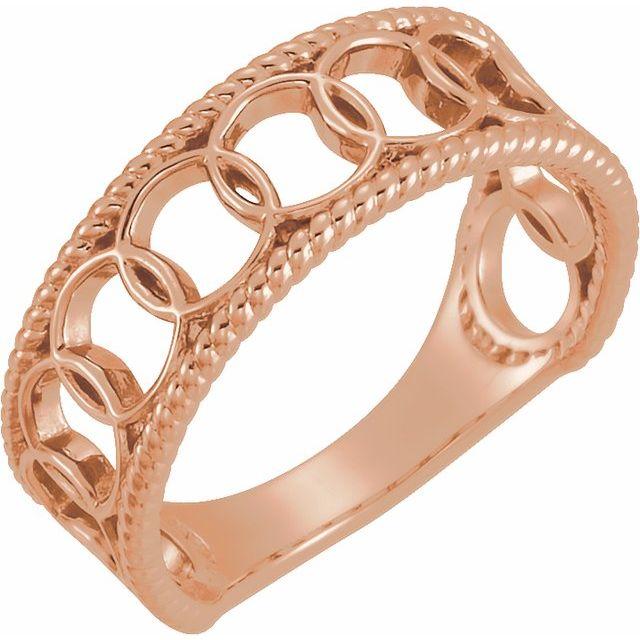 14K Rose Geometric Rope Ring