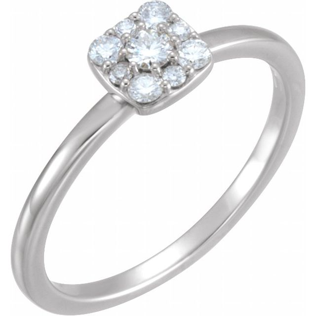 14K White 1/4 CTW Diamond Stackable Square Cluster Ring