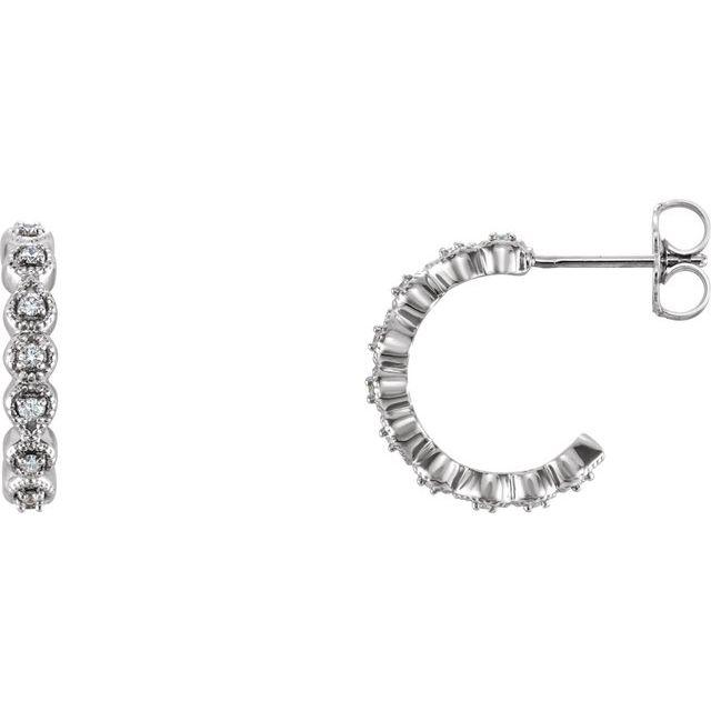 14K White 1/6 CTW Diamond 15.1 mm Hoop Earrings