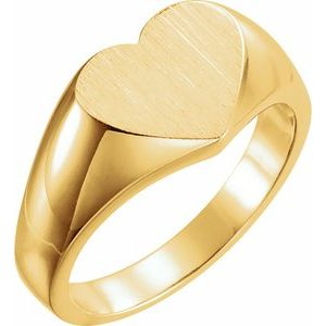 14K Yellow 11x10 mm Heart Signet Ring