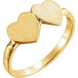 14K Yellow 13.8x7 mm Double Heart Signet Ring