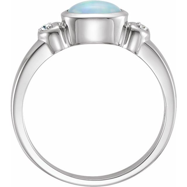 14K White Opal & .03 CTW Diamond Accented Ring