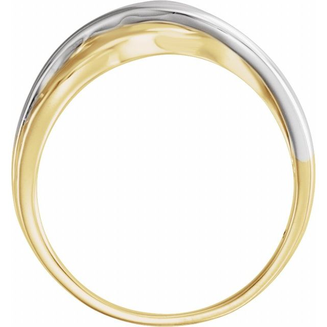 Rhodium-Plated 14K Yellow Overlap Hammered Ring