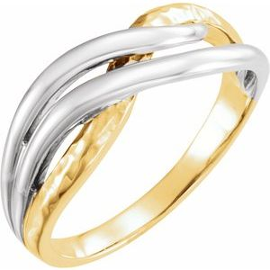 Rhodium-Plated 14K Yellow Overlap Hammered Ring