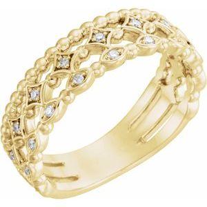 14K Yellow 1/8 CTW Stackable Diamond Ring