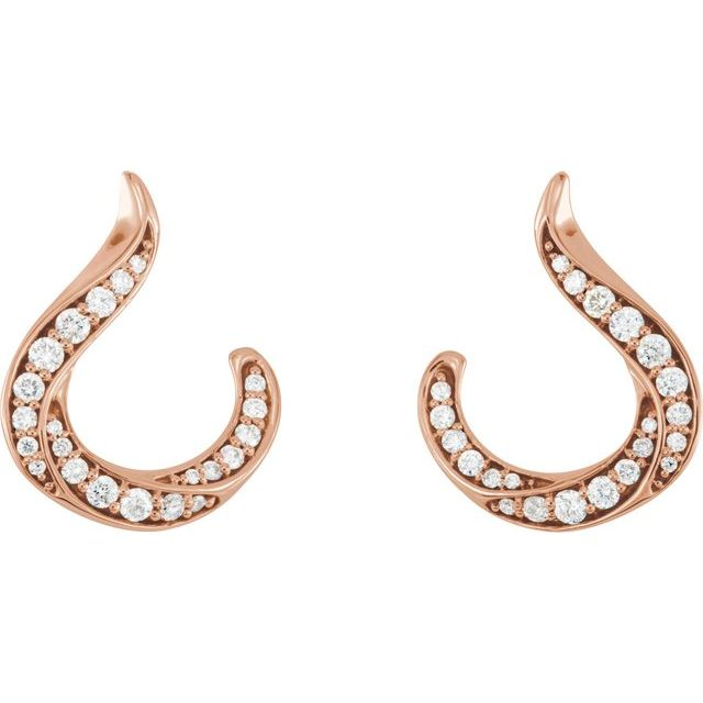 14K Rose 3/8 CTW Diamond Freeform Earrings