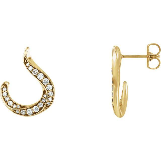 14K Yellow 3/8 CTW Diamond Freeform Earrings