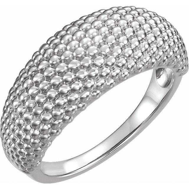 14K White Beaded Dome Ring