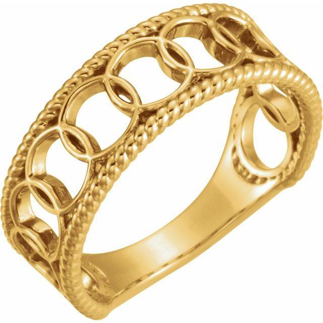 14K Yellow Geometric Rope Ring