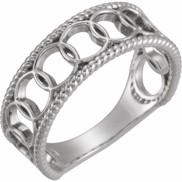 Sterling Silver Geometric Rope Ring