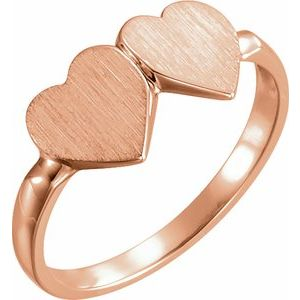 14K Rose 13.8x7 mm Double Heart Signet Ring