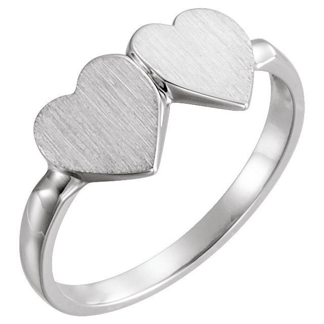 14K White 13.8x7 mm Double Heart Signet Ring