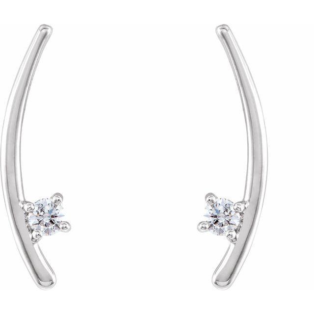 14K White 1/8 CTW Diamond Ear Climbers
