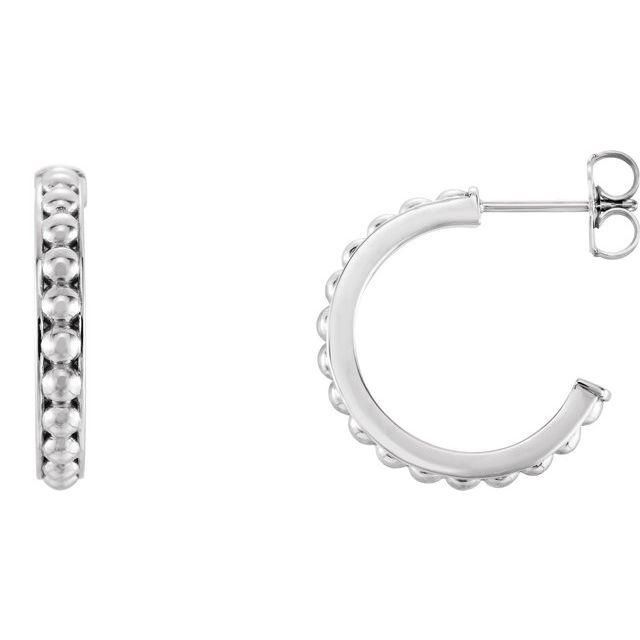 14K White 18 mm Beaded Hoop Earrings
