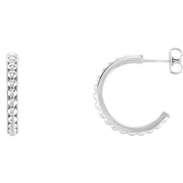 Sterling Silver 20 mm Beaded Hoop Earrings