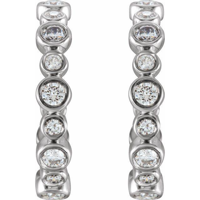14K White 3/8 CTW Diamond Huggie Earrings