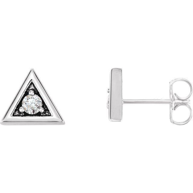 14K White 1/8 CTW Diamond Triangle Earrings